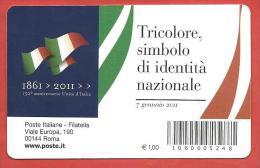 TESSERA FILATELICA ITALIA - 2011 - 150º Anniversario Dell'unità D'Italia - Tricolore Italiano - 1946-.. Republiek