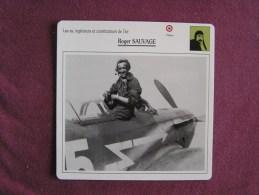 ROGER SAUVAGE    FICHE AVION Avec Description  Aircraft Aviation - Avions