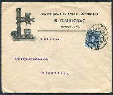 1910 Spain Barcelona La Maquinaria Anglo-Americana R. D'Aulignac Advertising Cover Sandviken Sweden LMAA Flags Buffalo - 1889-1931 Kingdom: Alphonse XIII