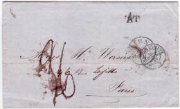 1854- Lettre De SMYRNE  Pour Paris Par L'Autriche ( A T ) Entrée AUTR. 2 VALnes  Verte ? -au Dos, Transit Rodenbach - Turkey