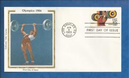 Lettre Des USA De 1983 - FDC - YT N° PA 98 - Jeux Olympiques - Halterophilie - Estate 1984: Los Angeles