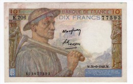 Rare 10 FRANCS MINEUR  Alphabet K 206 - 1871-1952 Anciens Francs Circulés Au XXème