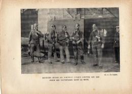 Mineurs Munis Du Nouveau Casque Pour Sauvetage Dans Les Mines  -  Photo Provenant D´un Livre Sur La SARRE Daté De 1933 - Documentos Antiguos