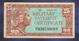 25 Cent Military Payment Certificate Series 611 - Certificados De Pagos Militares (1946-1973)