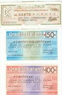 69 N° 3 MINIASSEGNI CREDITO ITALIANO E BANCA AGRICOLA COMMERCIALE REGGIO EMILIA - Coins & Banknotes