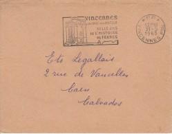 """VINCENNES 1963  PORT PAYE Flamme Illustrée """" Mille Ans D'histoire De France""""  Château, Bois - Oblitérations Mécaniques (flammes)"""