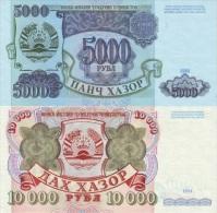TAJIKISTAN Set 5000 And 10000 Rubles 1994 P- 9A + 9B  **UNC** - Tadjikistan