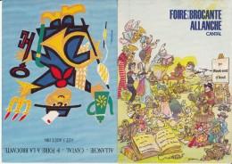 15 - 2 CP Modernes - ALLANCHE - Foire à La Brocante - Illustrateurs Auriac Et Bridenne - Allanche