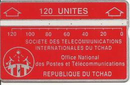 CARTE MAGNETIQUE-TCHAD-120U-ROUGE-V° N° En Bas A Droite Inversé 244C03757-TBE - Chad