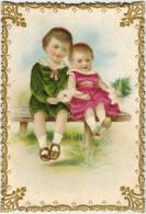 RARE CHROMO Gaufrée Enfant Bébé Dorure Or Vêtement Relief Satiné Type Velour Little Boy Girl Maedchen Kinder SOULAIRAC J - Cromo