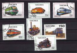 TANZANIA, 7 Marken Eisenbahnen Gestempelt - Tansania (1964-...)