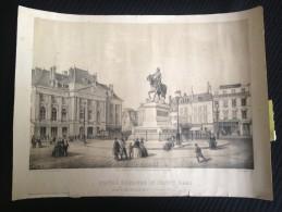 Gravure D´époque AB 55 - Statue Equestre De Jeanne D´Arc érigée Le 8 Mai 1855 Sur La Place Du Martroi à Orléans - Estampes & Gravures
