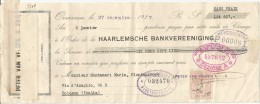 Overveen, Olanda, Bologna, 1927, Haarlemsche Bankvereeniging, Montanari Mario, Fioraio, Cambiale Per Lit 607. - Wissels