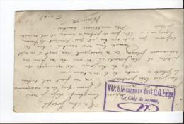 CP Militaire Belge Avec Texte Censure Mauve Sans Destinataire VU:à La C....du G.O.G Belge Le Chef De Bureau 1918 PR1667