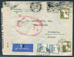 1945 Palestine Tel Aviv O.A.T. Airmail Censor Cover - Stockholm Sweden - Palestine