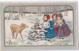 AK WEIHNACHTEN KINDER   Mädchen Mit Schnee Rehe  GEPRÄGT ALTE POSTKARTE 1913 - Weihnachten