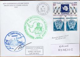 TAAF PLI TERRE ADELIE.ASTROLABE 62 ème EXP. OBL. DUMONT D URVILLE 14 1 2012 SIGNE TB. Voir Photo. - Terres Australes Et Antarctiques Françaises (TAAF)