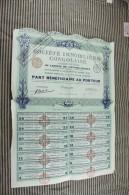 Action Titre Societe IMMOBILIERE CONGOLAISE Rue Ballu PARIS 5 Déc 1929 Part Bénéficiaire Au Porteur - Actions & Titres