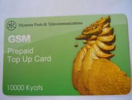 Myanmar Birmanie Burma Birma Hinta (bird) Elite Tech 10000 Kyats Mobile GSM Prepaid TOP UP Card EXP: 19.06.2013 - Myanmar