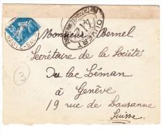 Lettre De VESOUL Du 28-8-1917 Via GENEVE Censure Controle Militaire 412 (type Semeuse 25c) - Poststempel (Briefe)