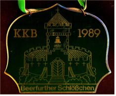Messing-Plakette  -  Beerfurther Schlößchen  -  KKB 1989  -  Ca. 11 X 10 Cm - Emailschilder (ab 1960)