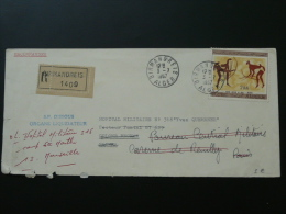 Lettre Recommandée Registered Cover Peinture Rupestre Rupestral Paintings Birmandreis Algérie 1967 Jolis Cachets Verso - Prehistorie