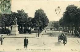 37 TOURS ++ Statue De Balzac Et Avenue De Grammont ++ - Tours