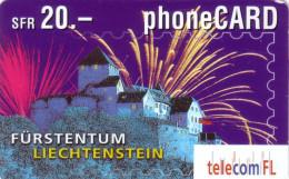 LIECHTENSTEIN PREPAID FIREWORKS FEU ARTIFICE  20FCH UT VALID 08.2003 - Liechtenstein