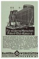 Original Werbung - 1926 - Guthe & Thorsch , Kamera-Werkstätten In Dresden , Patent-Etui-Kamera !!! - Fotoapparate