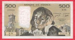 """France 500 Francs """"Pascal"""" Du 01/04/1978.J Série M.96 Dans L ´état - 500 F 1968-1993 ''Pascal''"""