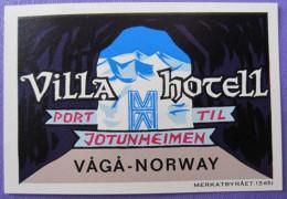 HOTEL HOTELLI HOTELL HOTELLET MINI VILLA VAGA NORVEGE NORWAY NORGE DECAL LUGGAGE LABEL ETIQUETTE AUFKLEBER - Hotel Labels