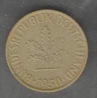 GERMANIA 10 PFENNIG 1950 - [ 7] 1949-… : RFA - Rep. Fed. Tedesca