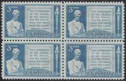 US LINCOLN GETTYSBURG ADDRESS Sc 978 BLOCK Of 4 MNH 1948 - Neufs