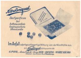 Original Werbung - 1937 - Nitrolingual , Asthma , Angina , G. Pohl - Boskamp , Danzig , Marienburg , Arzt , Apotheke !! - Werbung