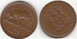 Sud Africa 2 Cents 1970 Km#83 - Used - South Africa