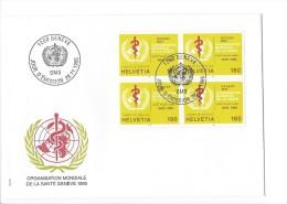 11826 - FDC Avec Bloc De 4 Timbres Organisation Mondiale De La Santé Genève 1995 Genève 28.11.1995 - FDC