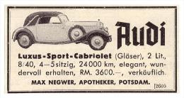 Original Werbung - 1937 - AUDI Luxus-Sport-Cabriolet , Max Negwer In Potsdam , Apotheke , Oldtimer , Automobile !!! - KFZ