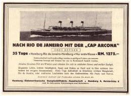 Original Werbung - 1937 - Cap Arcona , Dampfschiffahrt , Dampfschiff , Rio De Janeiro - Hamburg !!! - Schiffe