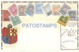 2503 BRITISH GUAYANA GEORGETOWN UK ART EMBOSSED HERALDRY MAP AND MULTI STAMPS POSTAL POSTCARD - Sonstige