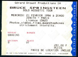 """BRUCE SPRINGSTEEN """"Solo Acoustic Tour"""" - Z�nith de Paris 1996 (rare)"""