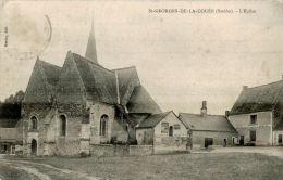 CPA  SAINT GEORGES DE LA COUEE       ,  L'église ,les Commerces ,le Quartier - Autres Communes