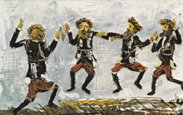 ARTIST Morris Katz, Jewish Theme Postcard; Dancing Chasidim, 1972 - Jewish