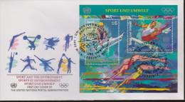 Sport 508) UNO Wien Mi# 214, 215 In Block 7 FDC: Sport Und Umwelt, Turnen Barren, Leichtathletik Hürdenlauf, Schwimmen - Summer 1996: Atlanta