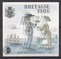 VARIETE CNEP N° 7 - TRES RARE - NEUF - BLOC BRETAGNE 1986 PEYNET DOUBLE IMPRESSION DU NOIR DECALE NON DENTELE - CNEP
