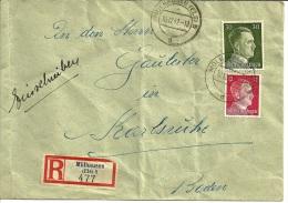 Lettre Recommandée Aff. à 42 Pf. Obl. Mülhausen (Els) 5 D Du 10.12.1942 TTB - Alsace-Lorraine