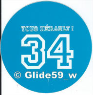 Autocollant - 34 Tous Hérault ! (bleu Clair) - Stickers