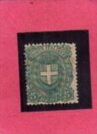 ITALY KINGDOM ITALIA REGNO 1896 - 1897 STEMMA DEI SAVOIA ARMS ARMOIRIES CENT. 5 MLH DISCRETAMENTE CENTRATO - Mint/hinged