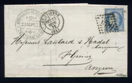 Lettre De St Etienne Pour St Geniez 23 Septembre1871 Avec Un N° 60 - Marcophilie (Lettres)