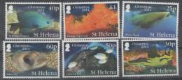 ST. HELENA , 2014, MNH,CHRISTMAS. MARINE LIFE, FISH, WHALE SHARKS, EELS, CORALS, 6v BEAUTIFUL! - Vissen
