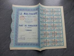 Le MULTISCOPE, Lot De 5 RARES Part De FONDATEUR 1932 ;  Ref 549 - Shareholdings